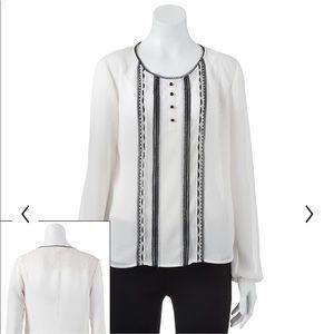 Tuxedo blouse Cream w black trim velvety crepe